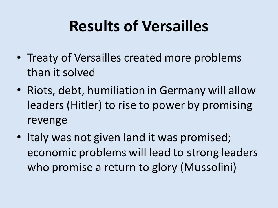 Results of Versailles Treaty of Versailles created more problems than it solved.