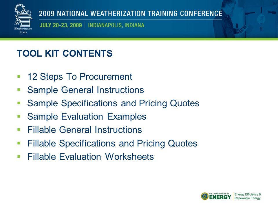 Weatherization Assistance Program Procurement Tool Kit Ppt Video. Tool Kit Contents 12 Steps To Procurement Sle General Instructions Specifications And Pricing. Worksheet. 12 Step Program Worksheets At Clickcart.co