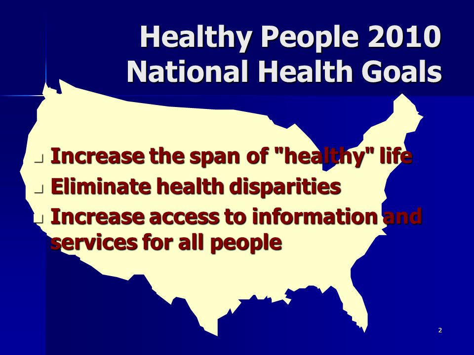 Healthy People 2010 National Health Goals