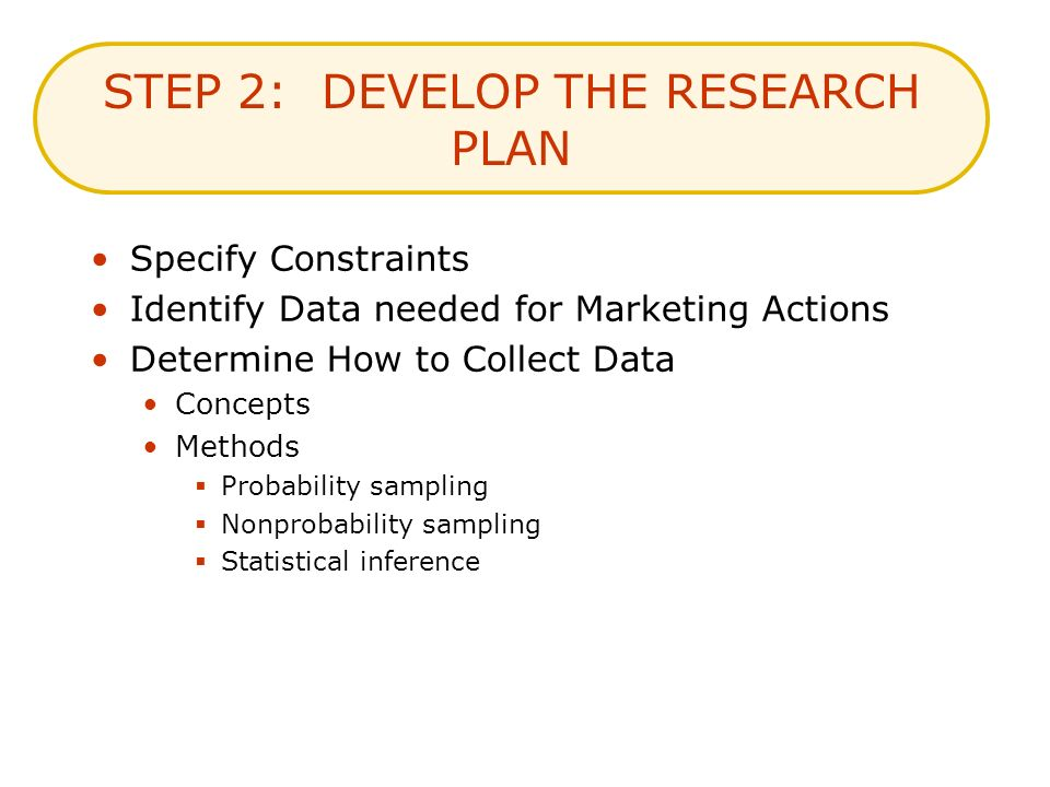 STEP 2: DEVELOP THE RESEARCH PLAN