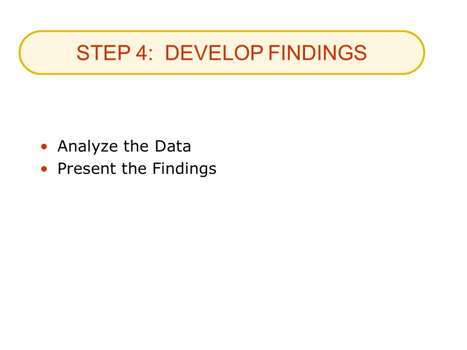 STEP 4: DEVELOP FINDINGS