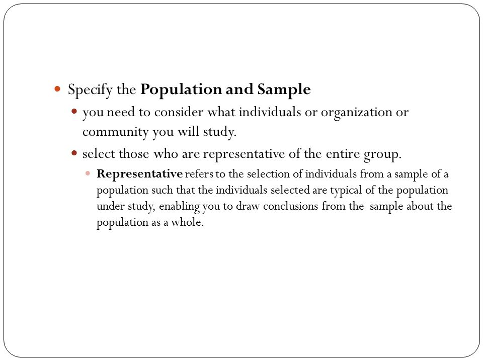 Specify the Population and Sample