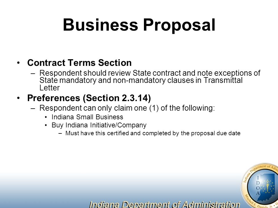 Business Proposal Contract Terms Section Preferences (Section )