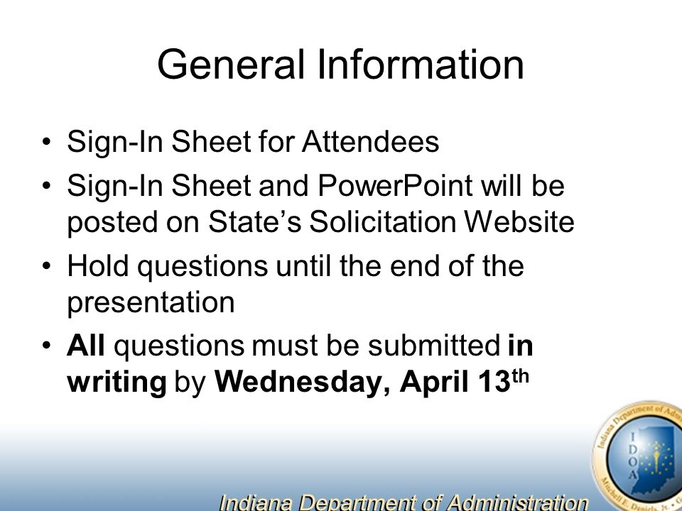 General Information Sign-In Sheet for Attendees