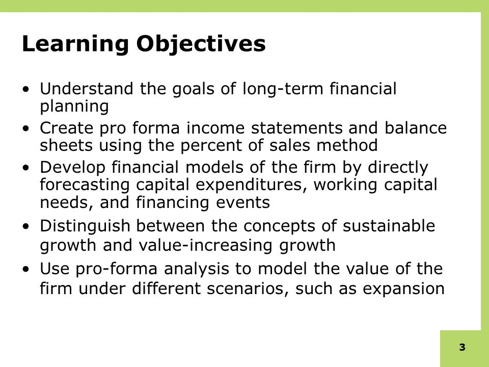 Learning Objectives Understand The Goals Of Long Term Financial Planning