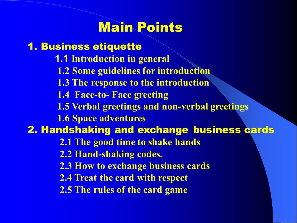 Chapter 6 business etiquette and social customs ppt download 2 main m4hsunfo
