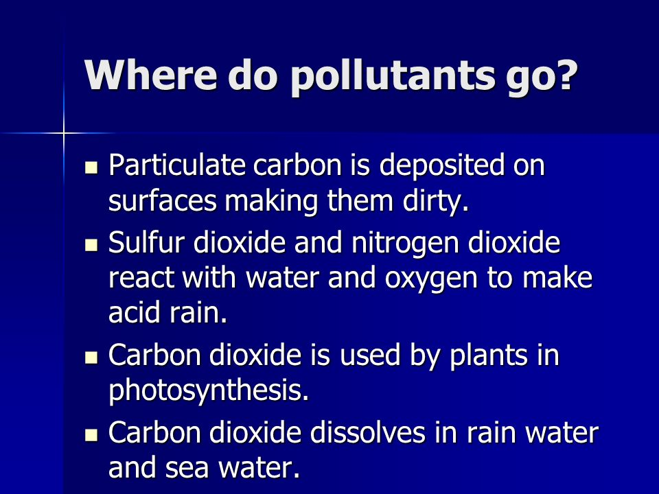 Where do pollutants go Particulate carbon is deposited on surfaces making them dirty.