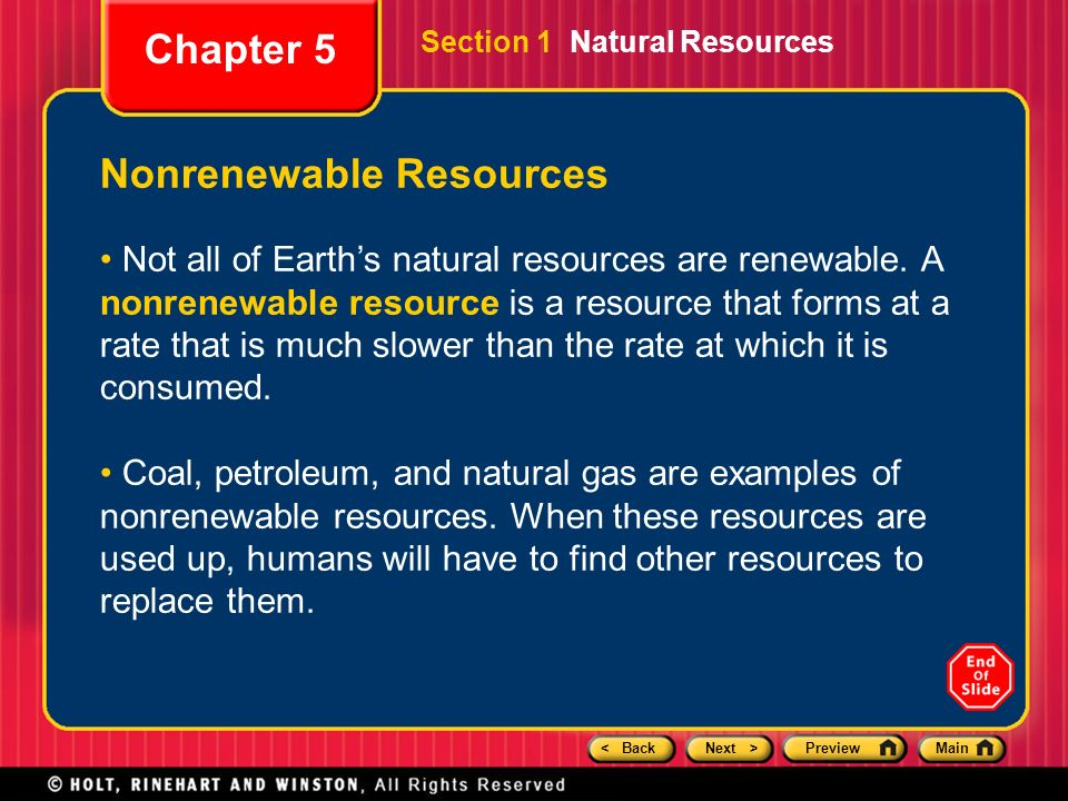 chapter 5 preview section 1 natural resources section 2 fossil fuels