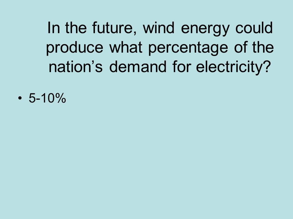 In the future, wind energy could produce what percentage of the nation's demand for electricity