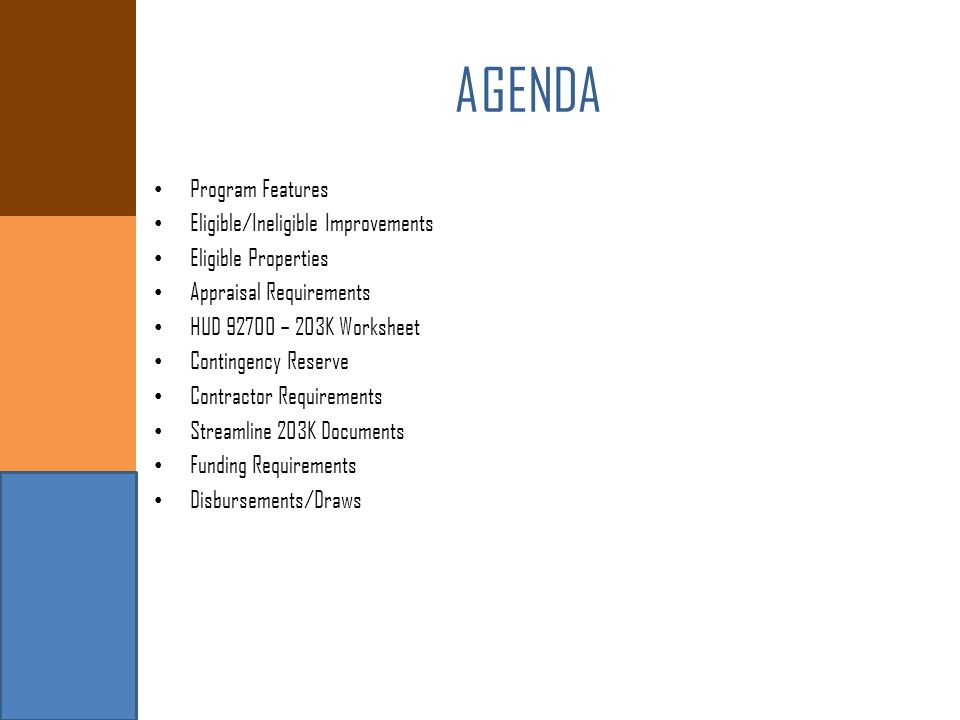 Agenda Program Features Eligibleineligible Improvements Ppt Video. Agenda Program Features Eligibleineligible Improvements. Worksheet. 203k Worksheet At Clickcart.co