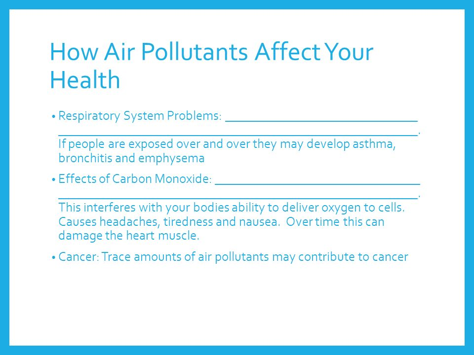 How Air Pollutants Affect Your Health