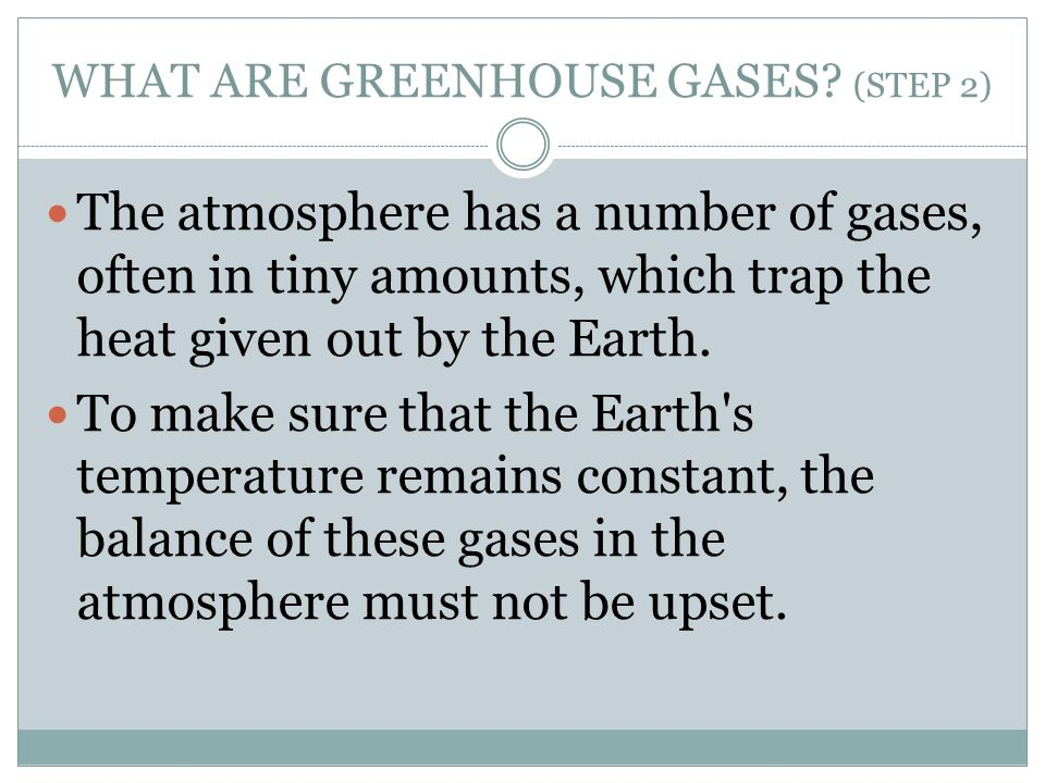 WHAT ARE GREENHOUSE GASES (STEP 2)