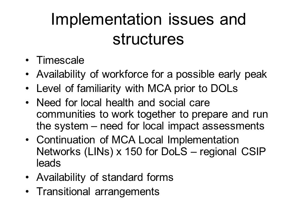 Implementation issues and structures