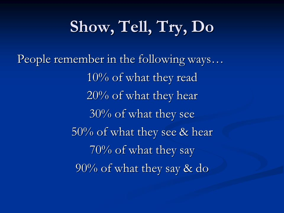 Show, Tell, Try, Do People remember in the following ways…