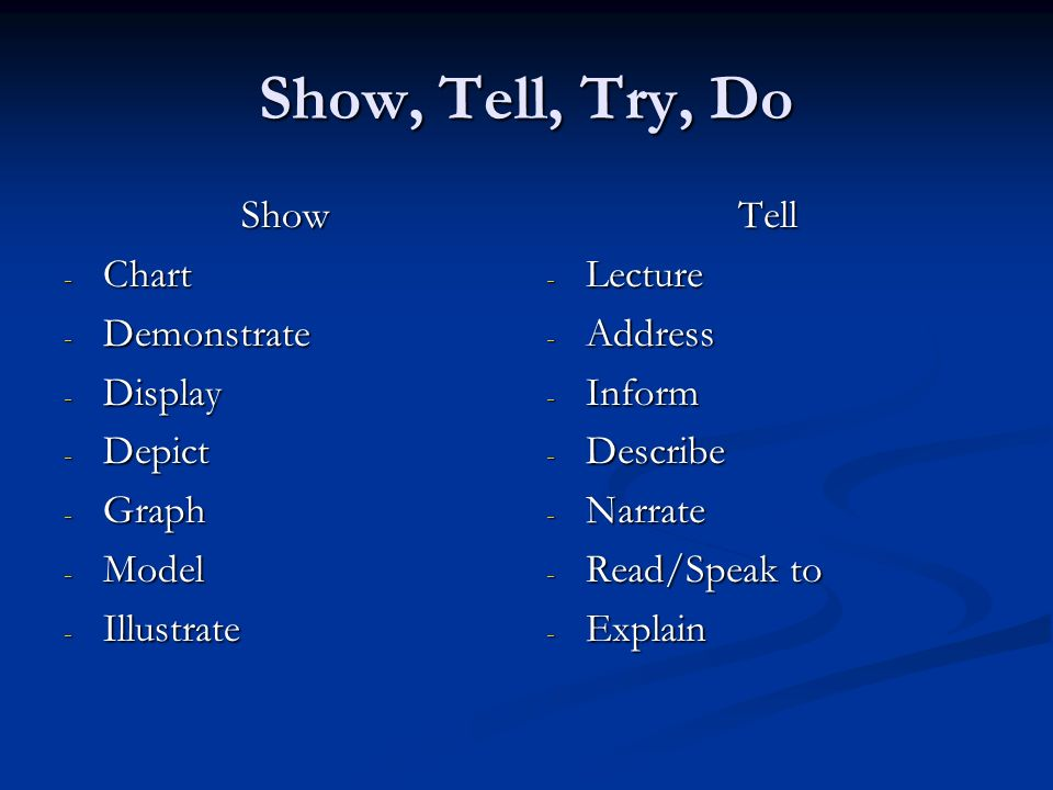 Show, Tell, Try, Do Show Chart Demonstrate Display Depict Graph Model