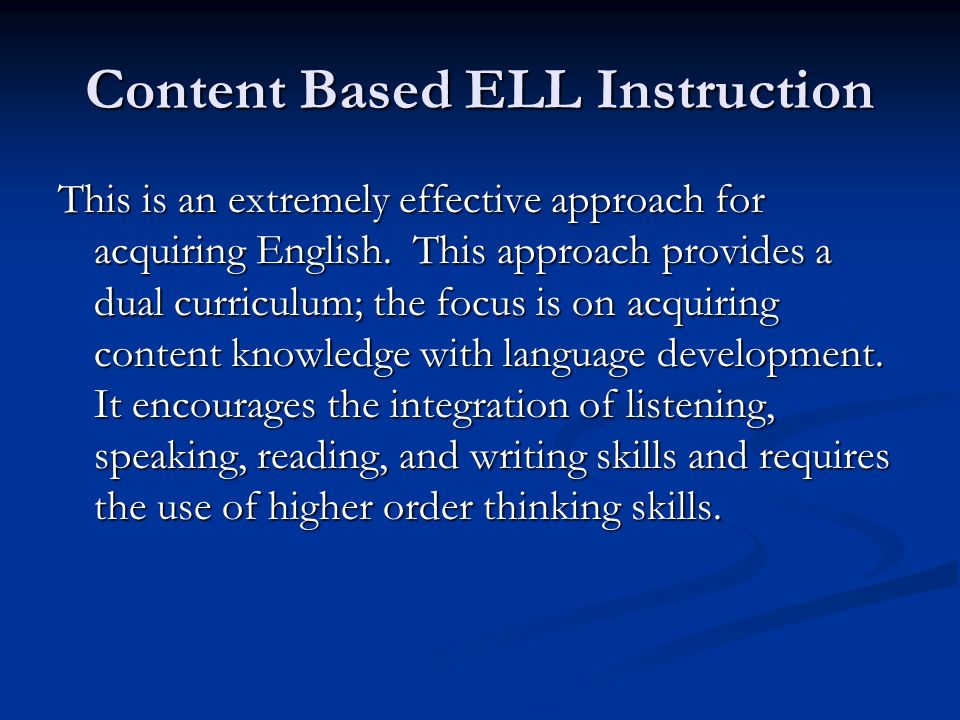 Content Based ELL Instruction