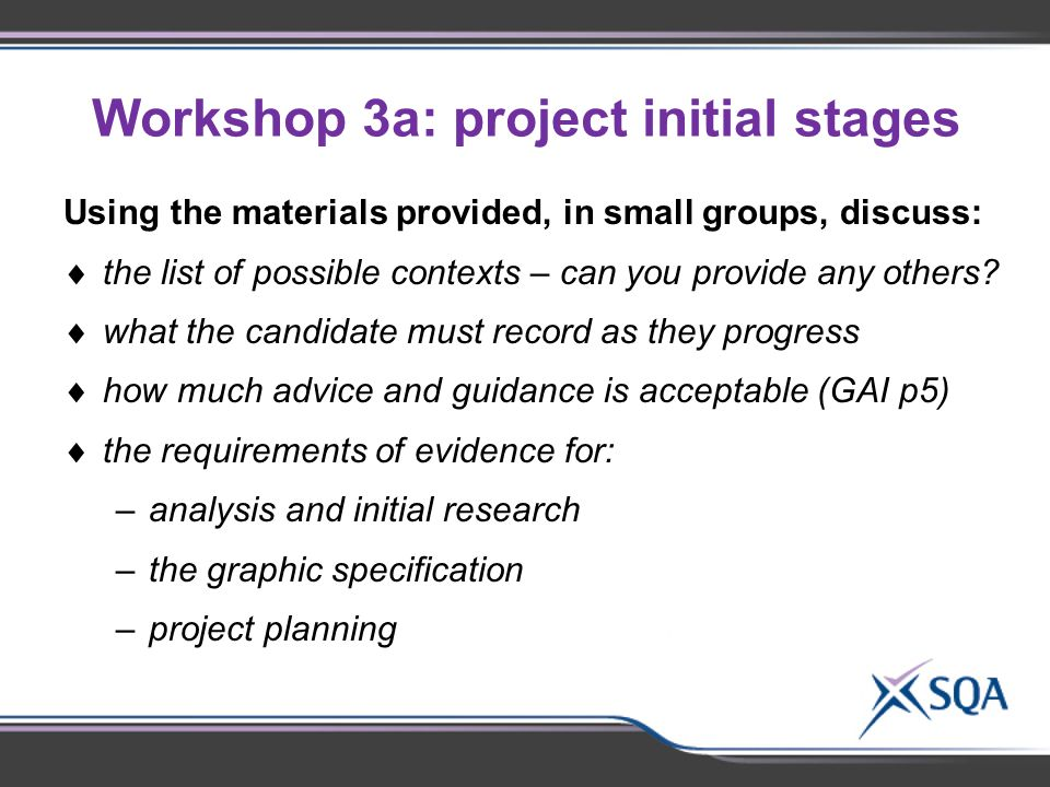 Workshop 3a: project initial stages