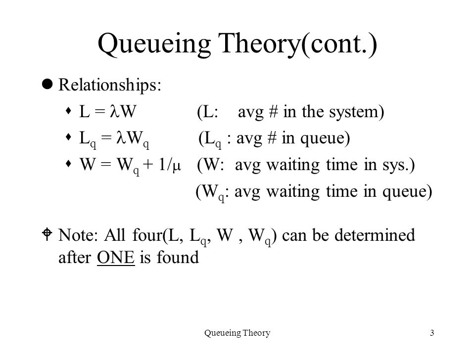 Queueing Theory Specification of a Queue Source Arrival Process