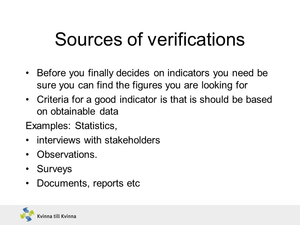 Sources of verifications