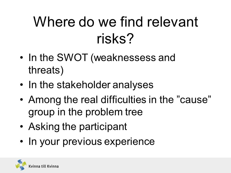 Where do we find relevant risks