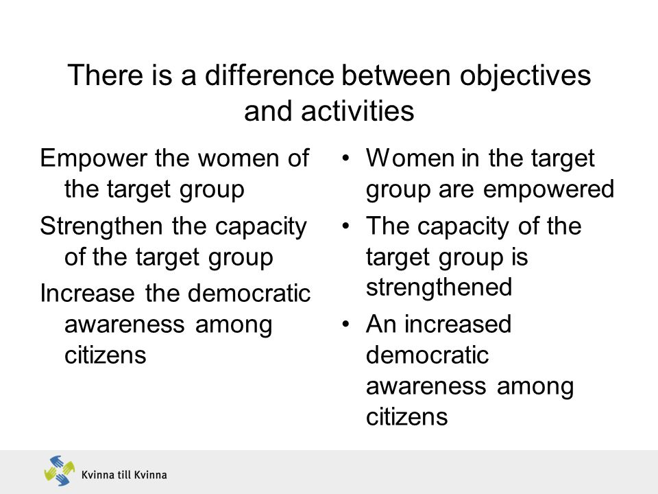 There is a difference between objectives and activities