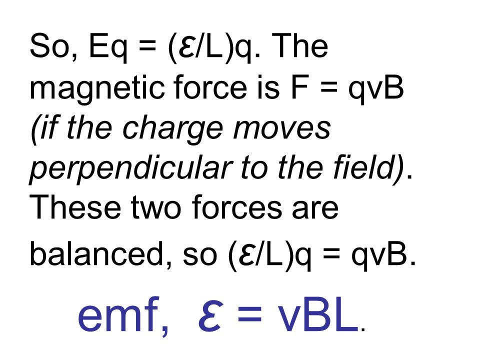 So, Eq = (ε/L)q. The magnetic force is F = qvB (if the charge moves perpendicular to the field).