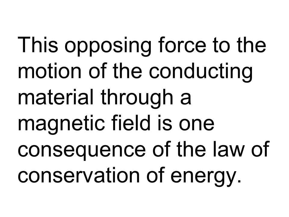 This opposing force to the motion of the conducting material through a magnetic field is one consequence of the law of conservation of energy.
