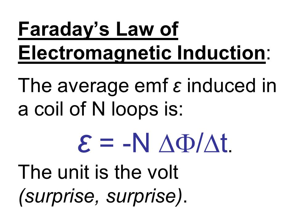 Faraday's Law of Electromagnetic Induction: The average emf ε induced in a coil of N loops is: ε = -N ∆F/∆t.