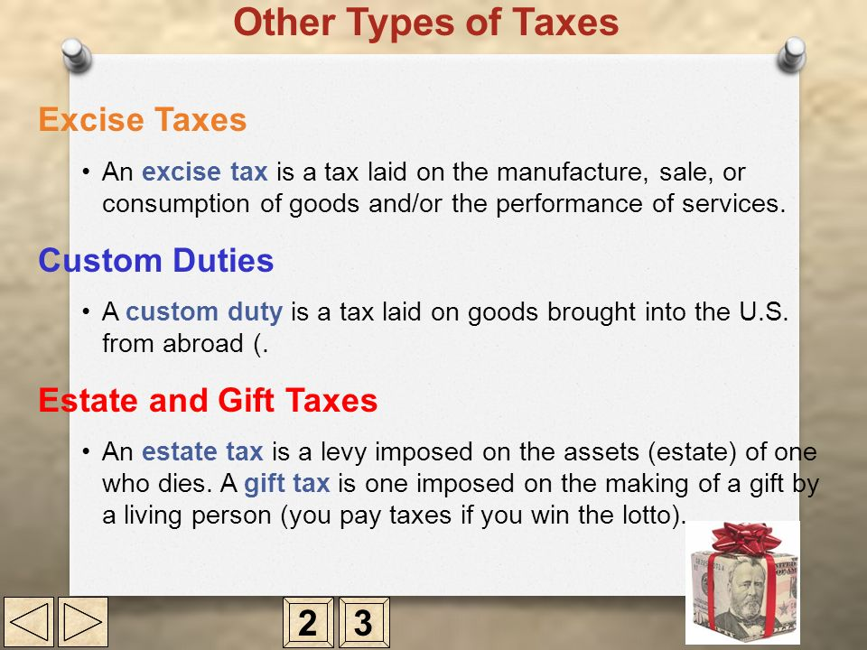 Other Types of Taxes 2 3 Excise Taxes Custom Duties