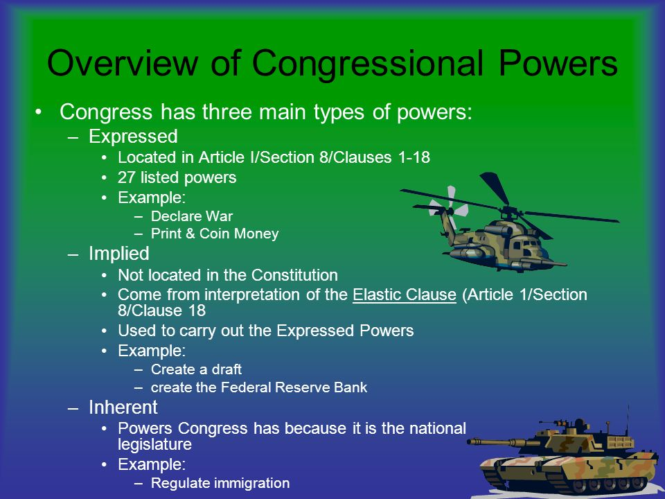 Overview Of Congressional Powers Ppt Video Online Download