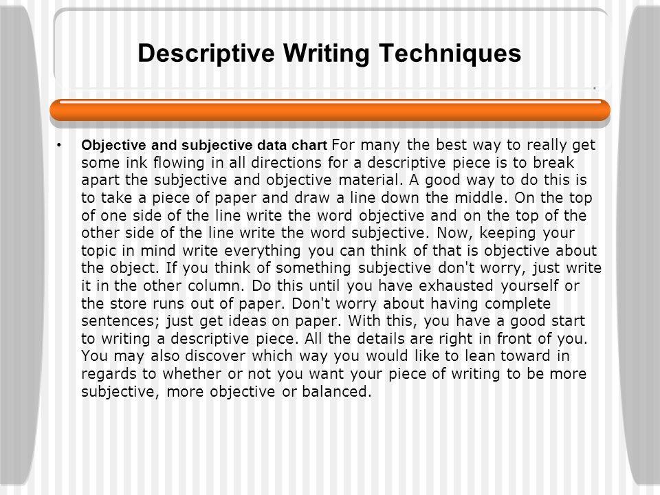 Subjective Descriptive Essay  Mistyhamel Descriptive Essay Exercises
