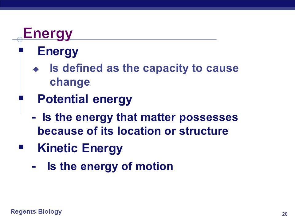 Energy Energy Potential energy