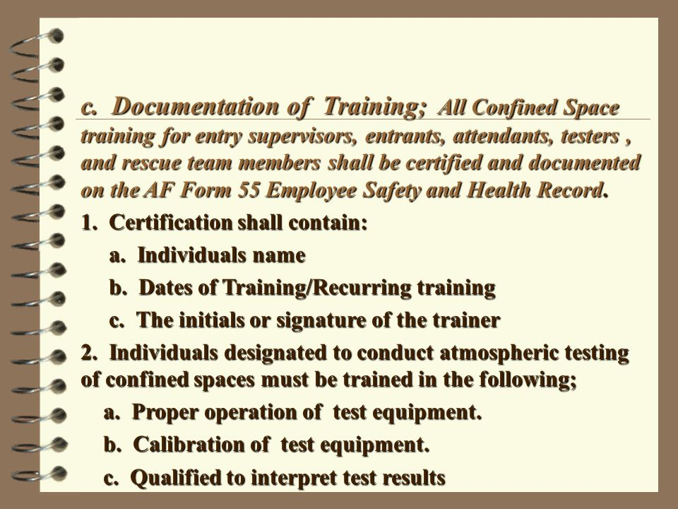 Confined Space Entry Supervisor Course Please Sign In Ppt Video