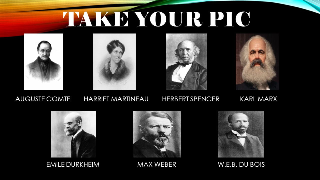 TAKE YOUR PIC AUGUSTE COMTE HARRIET MARTINEAU HERBERT SPENCER