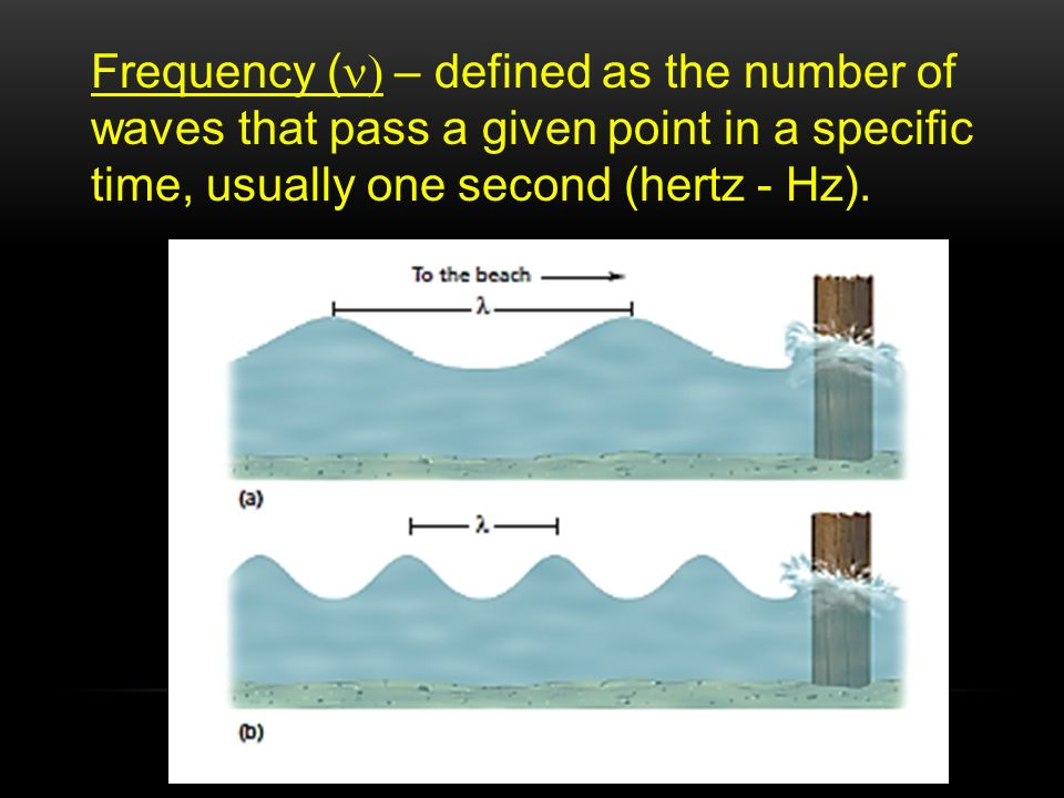 Frequency (n) – defined as the number of waves that pass a given point in a specific time, usually one second (hertz - Hz).