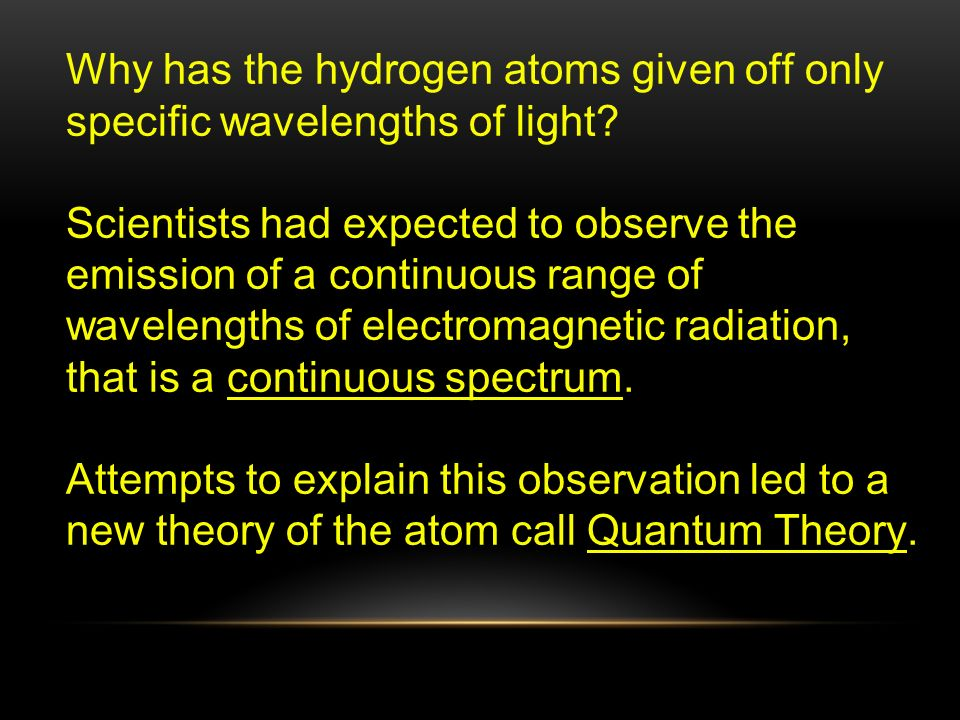 Why has the hydrogen atoms given off only specific wavelengths of light