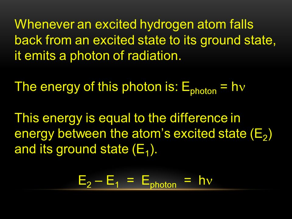 Whenever an excited hydrogen atom falls back from an excited state to its ground state, it emits a photon of radiation.