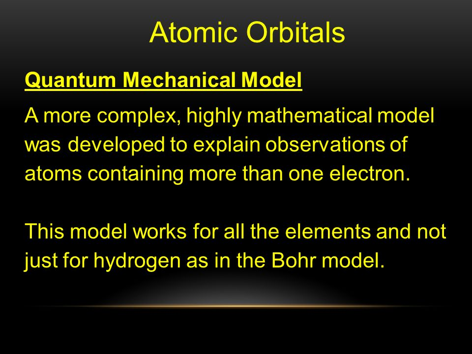 Atomic Orbitals Quantum Mechanical Model