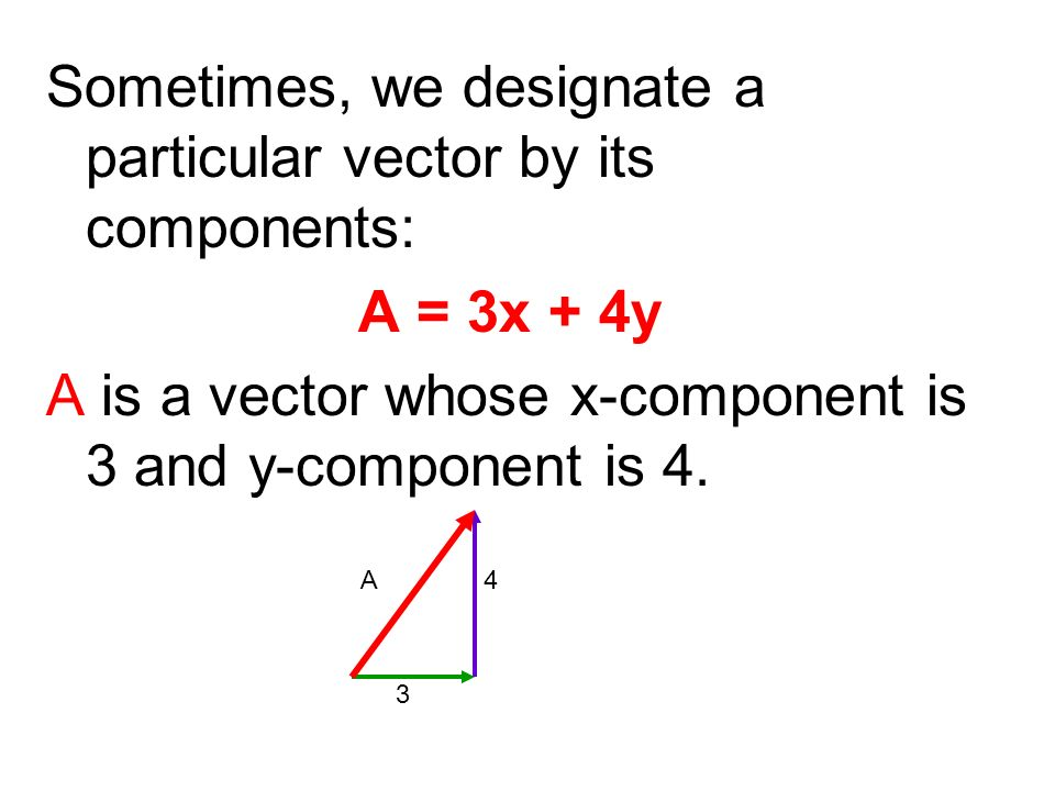 Sometimes, we designate a particular vector by its components: