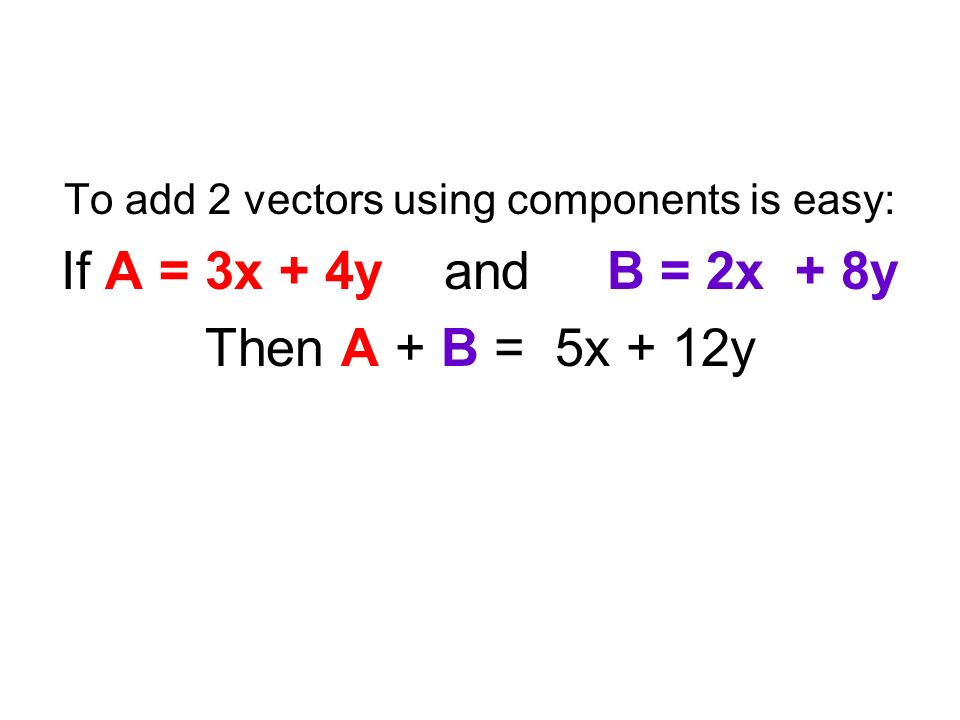 To add 2 vectors using components is easy: