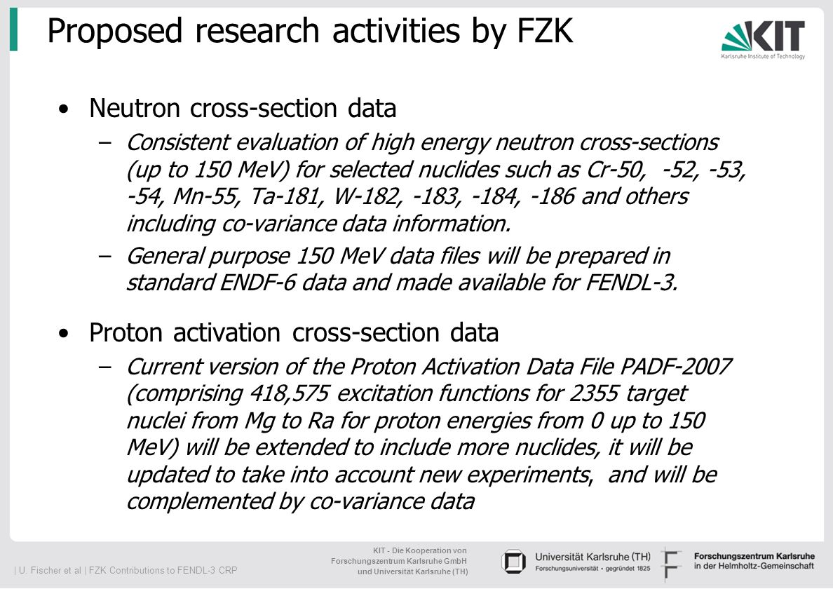 Proposed research activities by FZK