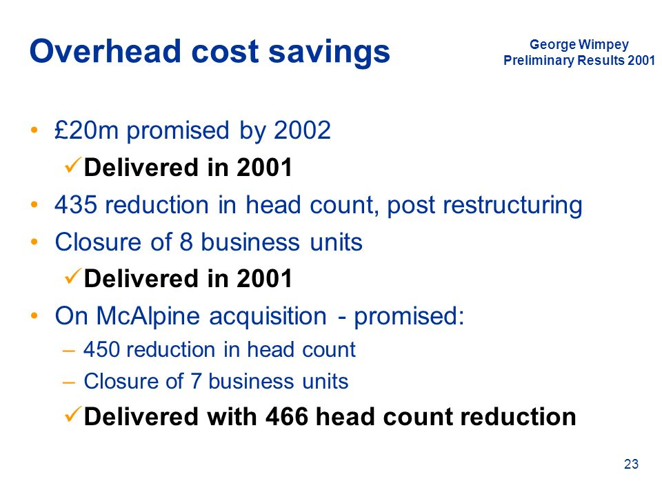 Overhead cost savings £20m promised by 2002 Delivered in 2001