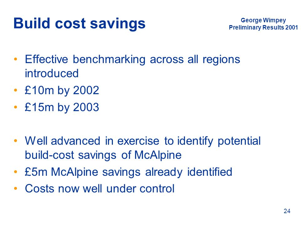 Build cost savings George Wimpey. Preliminary Results Effective benchmarking across all regions introduced.
