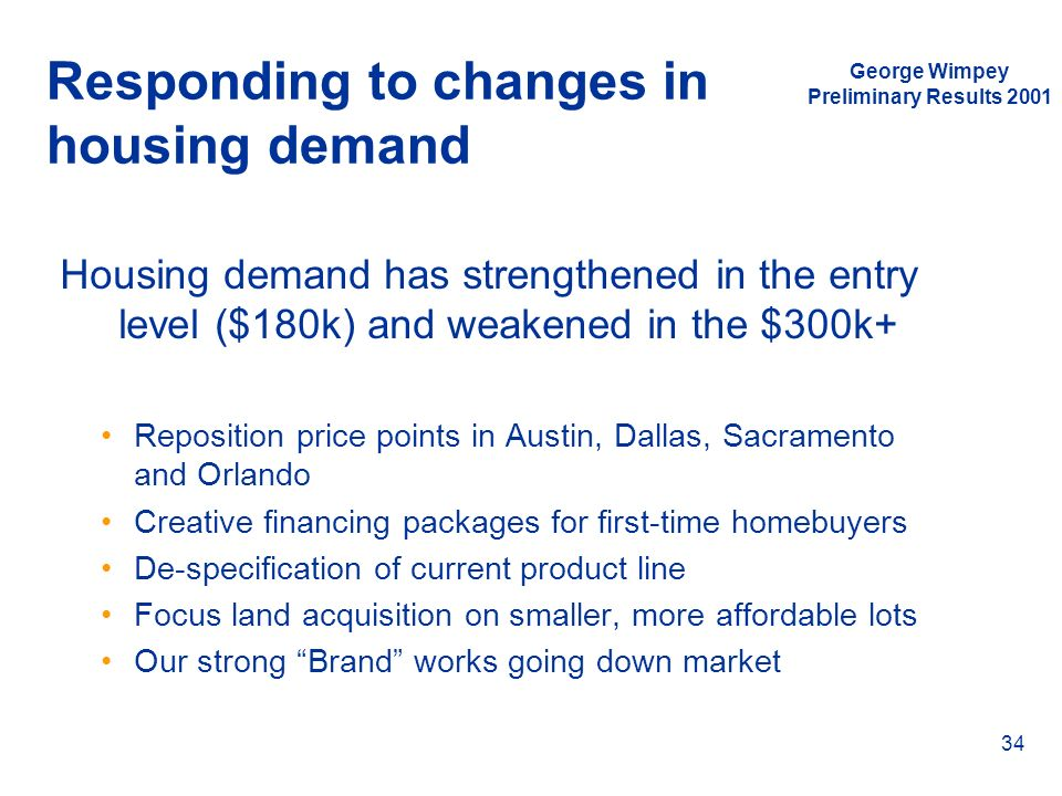 Responding to changes in housing demand