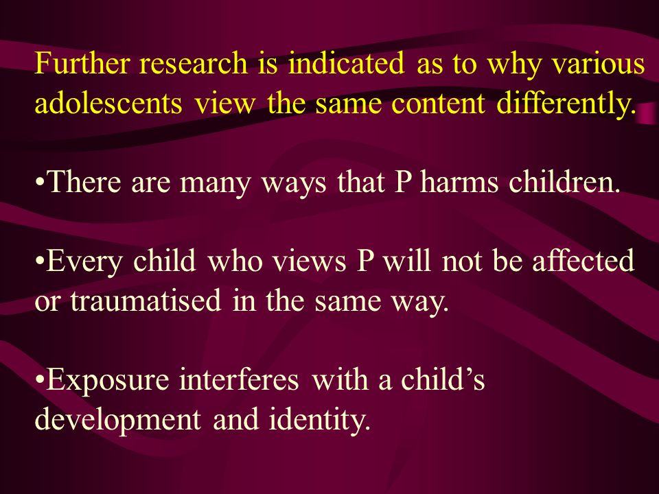 Further research is indicated as to why various adolescents view the same content differently.
