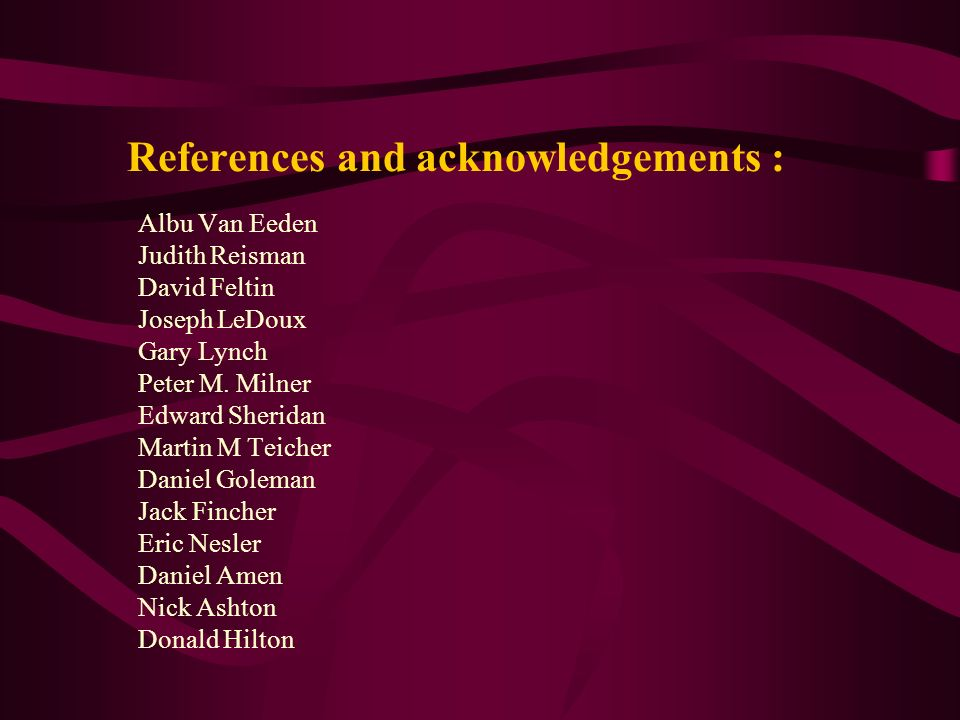 References and acknowledgements :