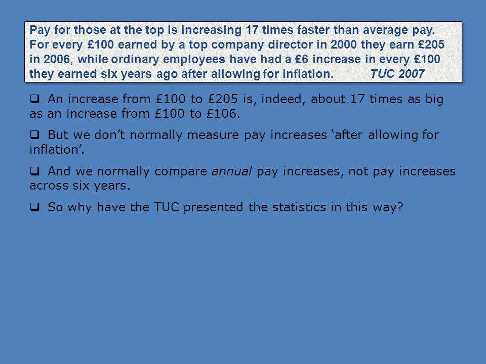 Pay for those at the top is increasing 17 times faster than average pay. For every £100 earned by a top company director in 2000 they earn £205 in 2006, while ordinary employees have had a £6 increase in every £100 they earned six years ago after allowing for inflation. TUC 2007