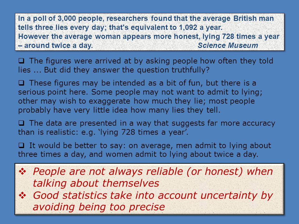 In a poll of 3,000 people, researchers found that the average British man tells three lies every day; that s equivalent to 1,092 a year. However the average woman appears more honest, lying 728 times a year – around twice a day. Science Museum