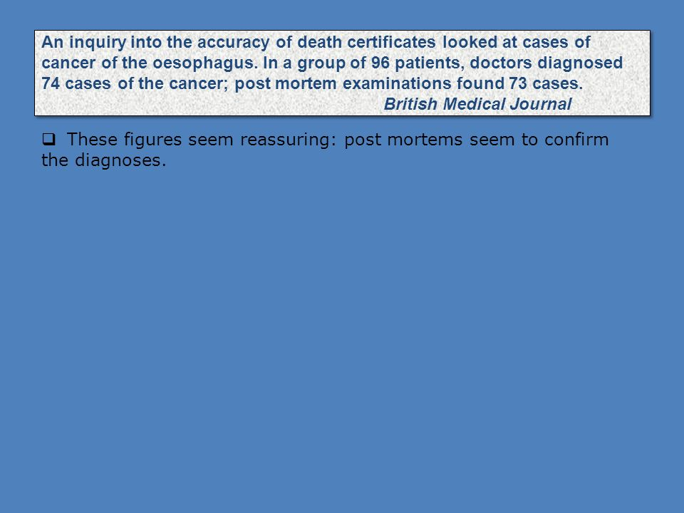 An inquiry into the accuracy of death certificates looked at cases of cancer of the oesophagus. In a group of 96 patients, doctors diagnosed 74 cases of the cancer; post mortem examinations found 73 cases. British Medical Journal