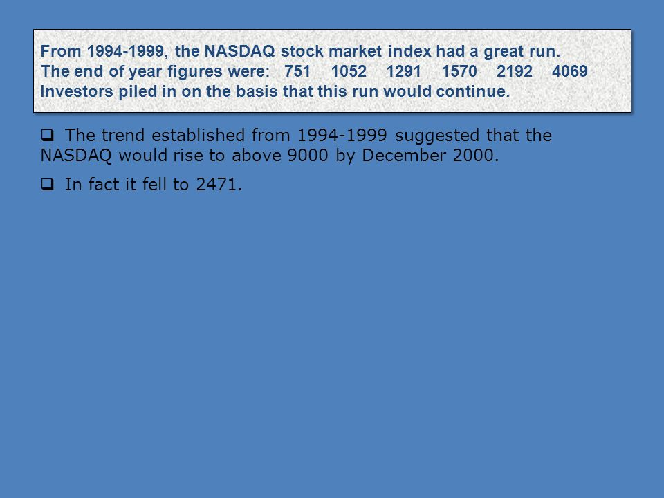 From 1994-1999, the NASDAQ stock market index had a great run